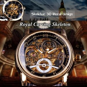 Men-039-s-Luxury-Automatic-Mechanical-Watch-Skeleton-Gold-Steel-Stainless-Wristwatch