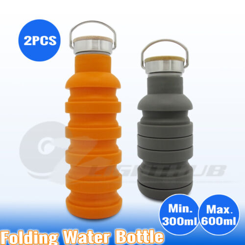 2x Collapsible Hiking Water Bottle Outback Gym Office Camping Folding Kettle Cup