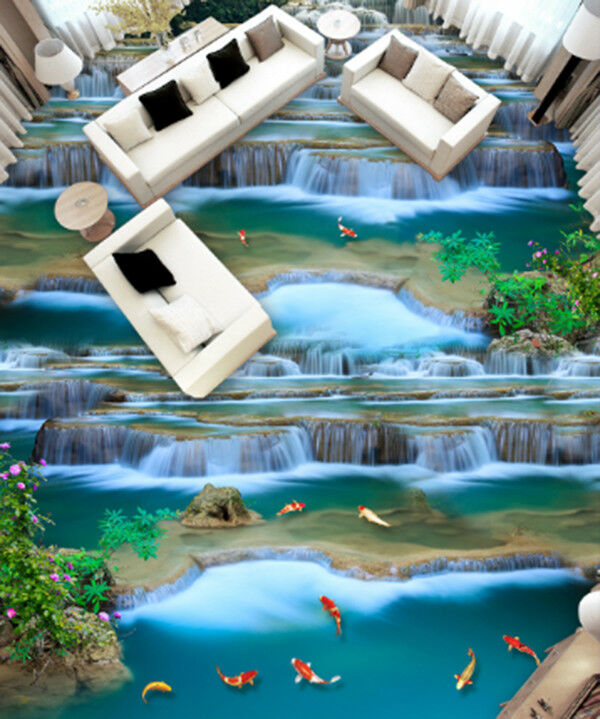 3D Waterfall Koi 8 Floor WallPaper Murals Wall Print Decal AJ WALLPAPER US Carly