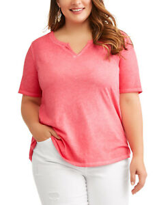 60a51a4b20e6e NEW Womens Plus Terra   Sky Rose Dust Split V-Neck Shirt Tee Size 2X ...