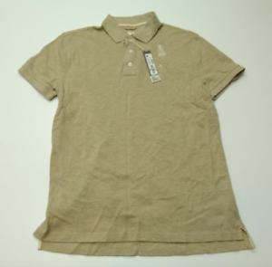 JCPenney-para-hombre-Talla-Mediana-Nueva-Camisa-Polo-de-malla-de-color-avena