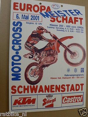 93-2001 Mini Poster A4 Schwanenstadt 6 Mai Europa Meisterschaft Ktm Motocross Mx Ganar Una Alta AdmiracióN