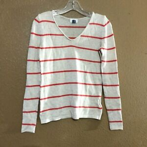 Old-Navy-Women-039-s-Striped-Sweater-Cream-Coral-V-Neck-Long-Sleeve-Size-XS