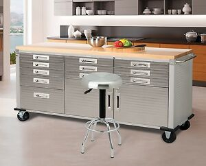 Image Is Loading Work Bench Table Stainless Steel Garage Workshop Storage