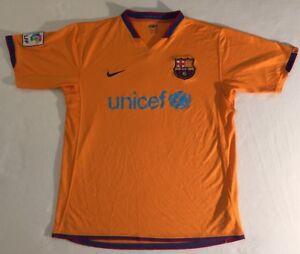 pretty nice 767ff 70e0a Details about Mens 2006-08 Nike Barcelona Away Shirt Orange LARGE 'MESSI  VINTAGE UNICEF LFP'