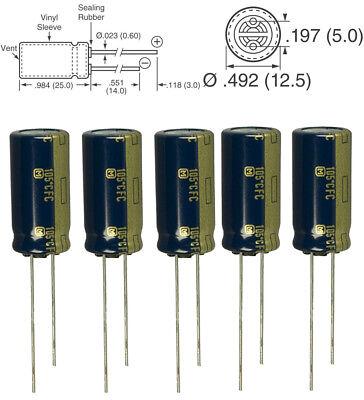 5x Panasonic FM 1000uF 35v Low-ESR radial capacitors caps 105C 12.5mm 12.5x25