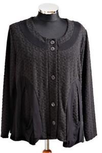 Raffay-Jacke-44-46-48-Farbe-Schwarz-grau-Waffelmuster