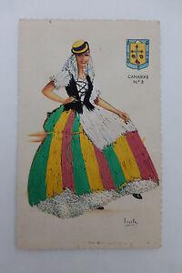 Vintage-Spanish-Embroidered-Silk-Dress-Postcard-Canarias