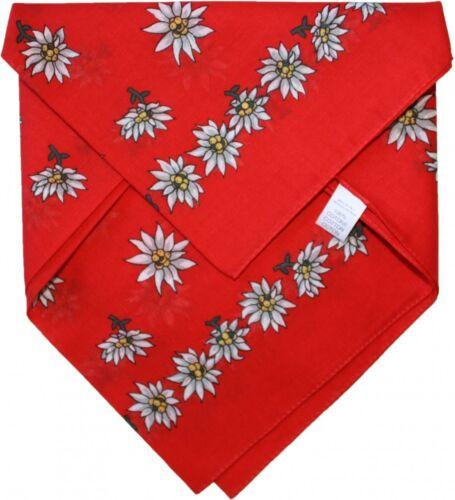 German Wear,Halstuch Trachtentuch Baumwolle Edelweissmuster nikituch 50x50cm rot