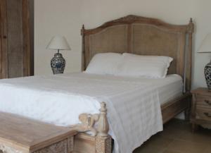 Détails sur 5\' KING SIZE EN TECK MASSIF & rotin Limed Finition Chêne lit en  bois chambre à coucher Gamme- afficher le titre d\'origine
