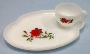 Vintage Federal Milk Glass Snack Tray Tea Cup Set Rosecrest | eBay