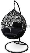 Outdoor Swing Hanging Egg/ Pod Chair - Black Wicker w Black Cushions