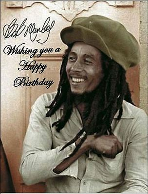 Excellent A4 Bob Marley Edible Icing Birthday Cake Topper Ebay Personalised Birthday Cards Veneteletsinfo