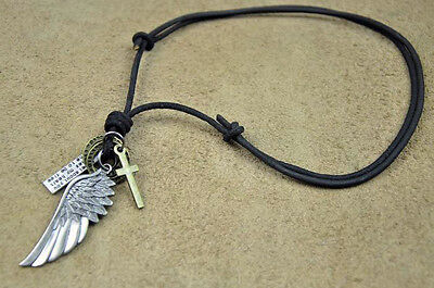 COOL BLACK LEATHER MEN'S ADJUSTABLE SURFER BEACH LONG NECKLACE CROSS PENDANTS