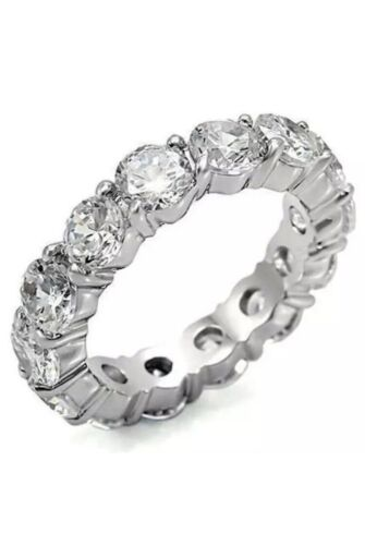 Men/'s 4mm Tennis Ring Silver Finish Icy Bling Round Cut CZ Pinky Wedding Band