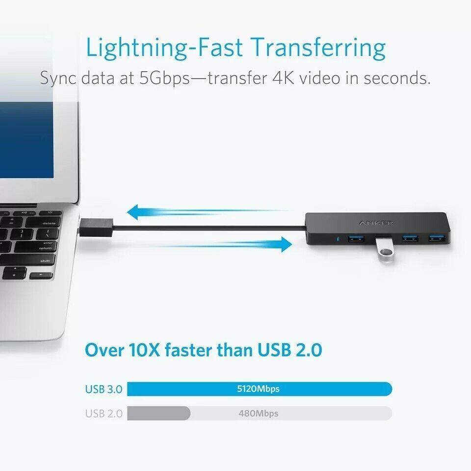 Anker 4-Port USB 3.0 Ultra Slim Data Hub for Macbook, Mac Pro/mini, iMac,...
