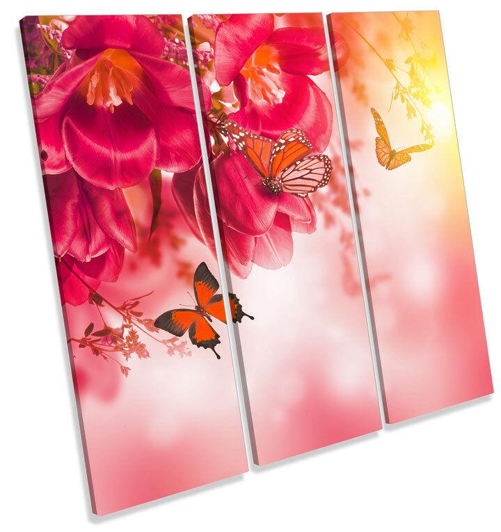 Butterfly Floral Flowers TREBLE CANVAS Wand Kunst Square Bild Drucken