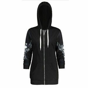 New-Women-Hoodie-Black-Jacket-Sweatshirt-Coat-Hoodies-XXS