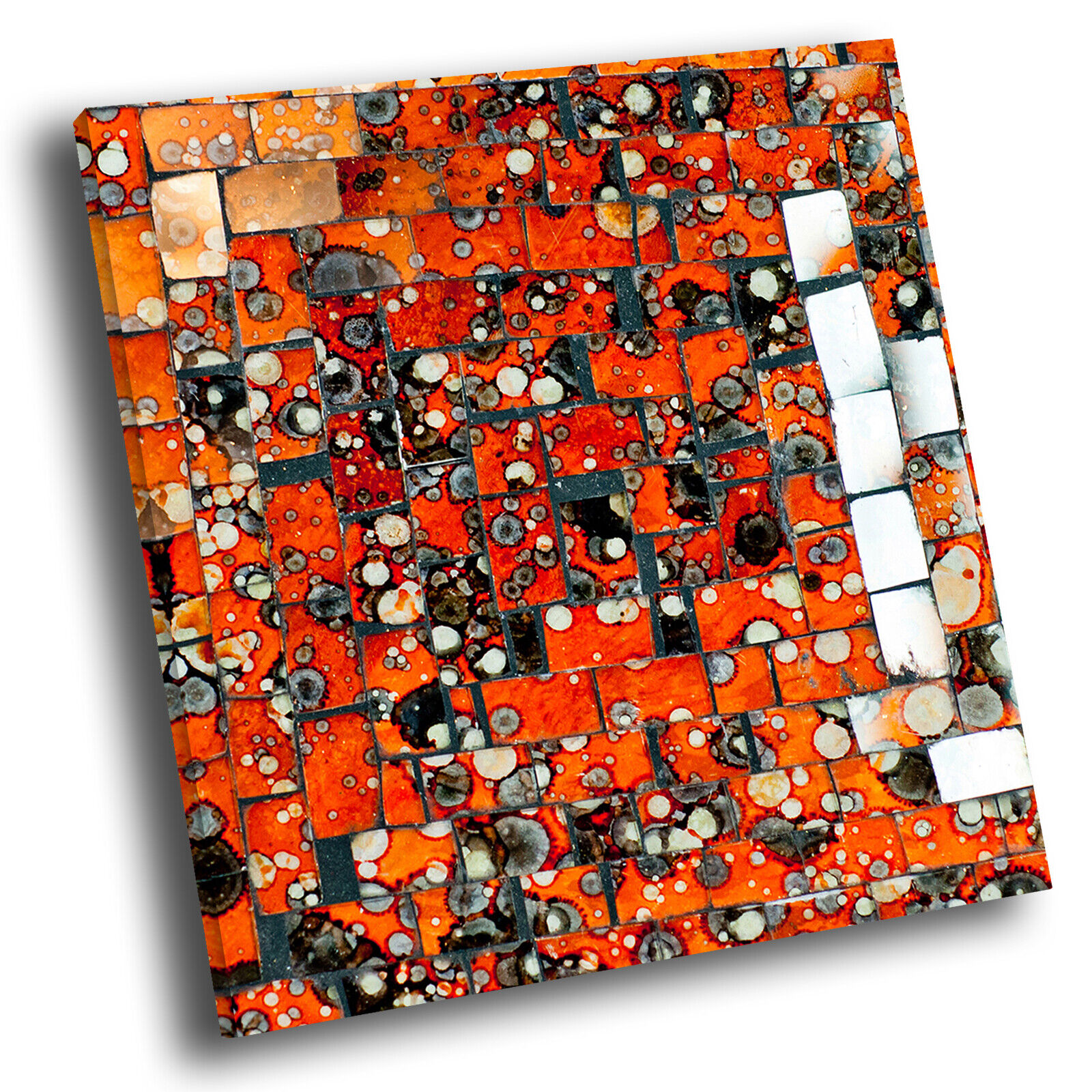 Retro Orange Weiß Square Abstract Photo Canvas Wall Art Large Picture Prints
