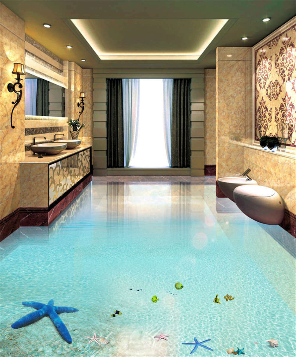 Amiable Blau Water 3D Floor Mural Photo Flooring Wallpaper Home Print Decoration