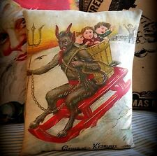 Christmas antique German Krampus sled naughty kids bad belsnickle santa claus