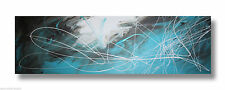 ABSTRACT CANVAS PAINTING white trquoise brown. Modern wall art Australia