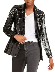 INC Womens Blazer Black Large L Sequined Single-Button Shawl-Collar $149 173
