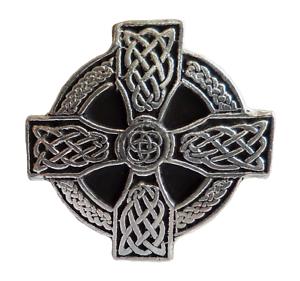 Hand Made in Cornwall Celtic Wheelhead Cross Pewter Pin Badge