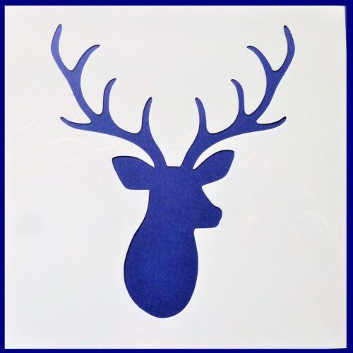 Flexible Stencil *STAG HEAD* Deer Christmas Crafts Card Making 14cm x 14cm