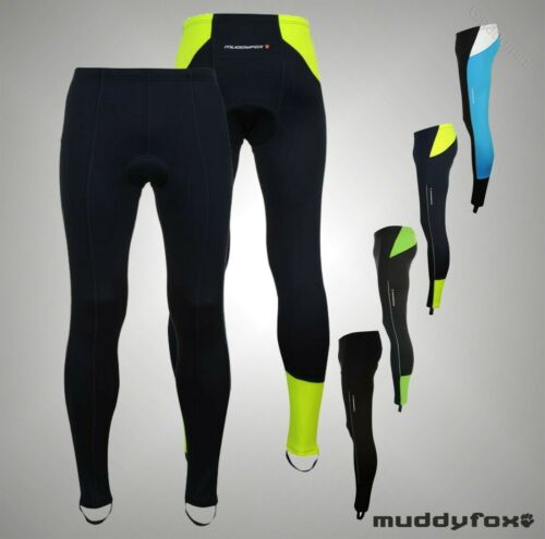 Mens Branded Muddyfox Full Length Reflective Cycle Padded Tights Size S-XXL
