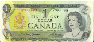 Bank-of-Canada-1973-1-One-Dollar-Near-One-Digit-Solid-Numbers-4444448-Prefix-MT