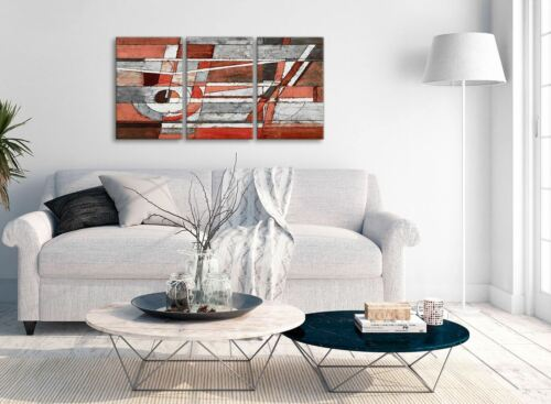 Abstract 3401-126cm 3 Piece Red Grey Painting Kitchen Canvas Wall Art Decor