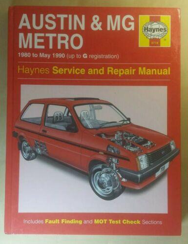 AUSTIN /& MG METRO 1980-90 ~ Manuale Haynes Workshop ~ RILEGATO #0718 in buonissima condizione