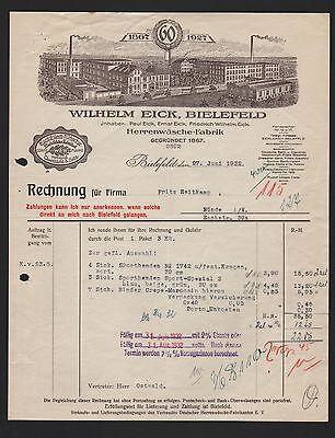 Rechnung 1932 60 Jahre 1867-1927 Motiviert Bielefeld Herrenwäsche-fabrik Wilhelm Eick