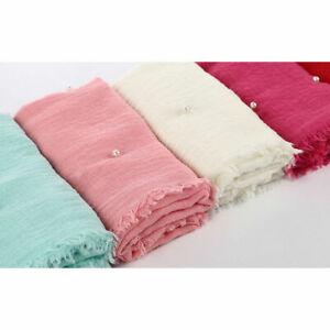 Muslim Ladies Crinkle Hijabs Scarves Women Cotton Hijab Scarf with Pearl