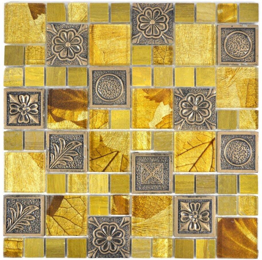 Mosaik Fliese Transluzent Gold Kombination Glasmosaik 88-0790_f 10Matten