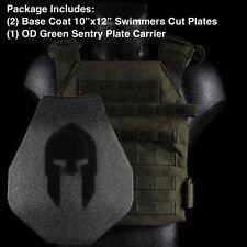 AR500 Spartan Body Armor | Swimmers Cut + Green Sentry Plate Carrier Level III