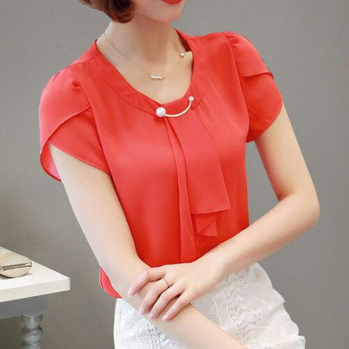 2019 Summer Solid Chiffon Blouse Shirt Women Tops Shirt Blouses Ladies Office