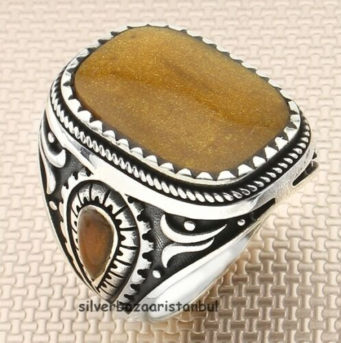 Handmade with Malachite Stone 925 Sterling Silver Turkish Men Ring All Size Usa