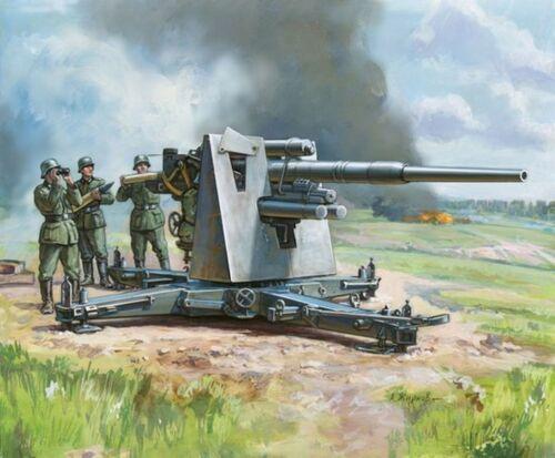 ZVEZDA 1//72nd Scale WWII German Flak 36//37AA Gun 88mm Snap Kit 6158 NEW In BOX