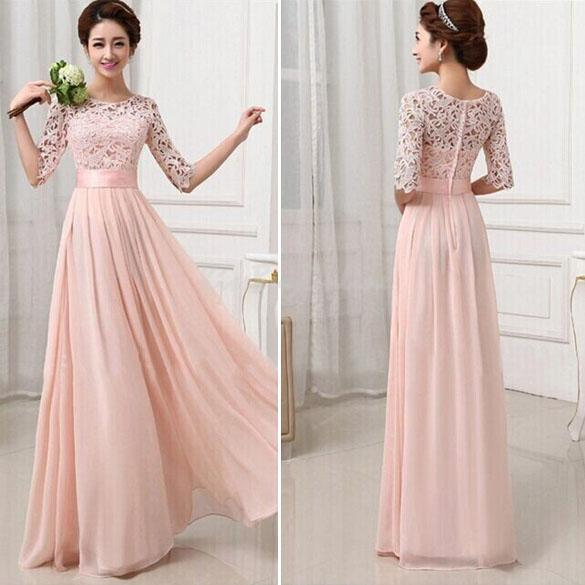 Women Lace Chiffon Prom Ball Cocktail Party Dress Bridesmaid Formal Evening Gown