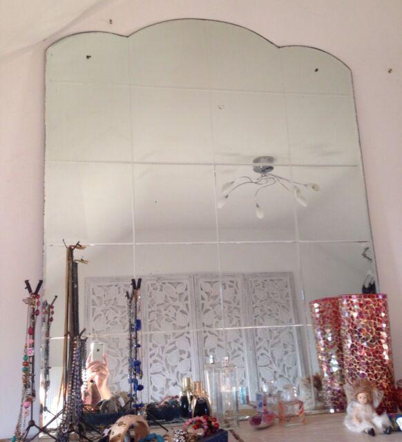 Super Large Huge Vintage Art Deco Retro Bevelled Frameless Mantle Wall Mirror