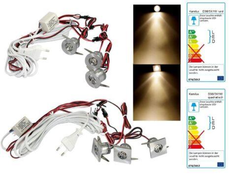 Komplett Set LED Lichtpunkte Rund /& Eckig 1W = 10W Warmweiß inkl Trafo IP44