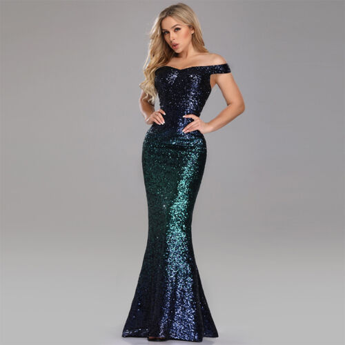 UK Ever-Pretty Off-Shoulder Sequins Long Evening Party Dresses Mermaid Prom Gown
