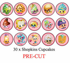 30 Shopkins Edible Cupcake Toppers Party Cake Food ...