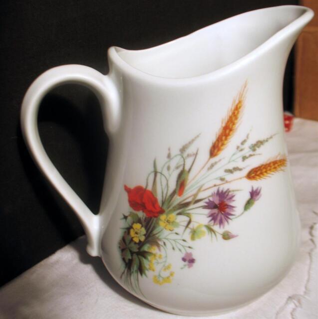 Vintage BIA Cordon Bleu Pitcher France Porcelain Stoneware Wheat Floral COB22 Qt