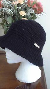 Black-Crochet-Trilby-Sun-Hat-by-Kangol-Size-Large-BNWT