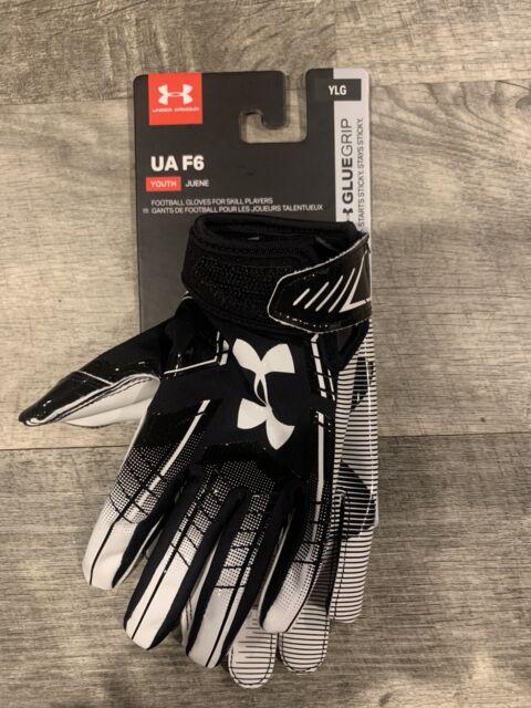 Under Armour UA F6 Youth Glue Grip YMD Football Gloves 1304695 001 New