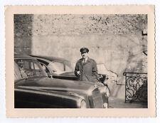 PHOTO SNAPSHOT Auto Voiture de luxe Automobile Rolls Cadillac ? Chauffeur 1960