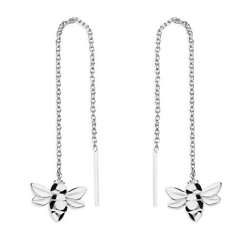 925 HALLMARKED STERLING SILVER 92MM LONG BUMBLE BEE THREAD THROUGH EARRINGS